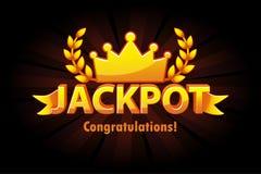 Etiqueta do loto do casino do ouro do jackpot com a coroa no fundo preto Concessões do vencedor do jackpot do casino com texto e  ilustração stock