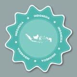 Etiqueta do mapa de Indonésia em cores na moda Fotografia de Stock