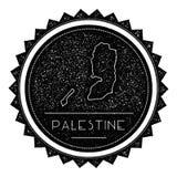 Etiqueta do mapa de Palestina com o vintage retro denominado ilustração royalty free