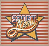 Etiqueta do menu do esporte ilustração stock