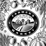 Etiqueta do mercado dos fazendeiros do vintage preto e branco