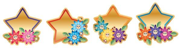 Etiqueta do molde da estrela da flor de borboleta da folha dos desenhos animados ilustração do vetor