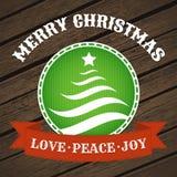 Etiqueta do Natal com árvore de Natal ilustração do vetor