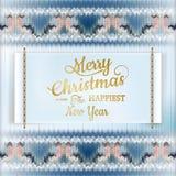 Etiqueta do Natal com teste padrão feito malha Eps 10 Fotografia de Stock Royalty Free