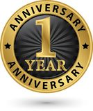 etiqueta do ouro de um aniversário de 1 ano, ilustração do vetor Imagem de Stock