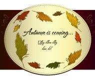 Etiqueta do outono do vintage com bastão. Ilustração do Vetor