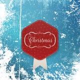 Etiqueta do papel do cumprimento do Natal e fita branca Imagem de Stock