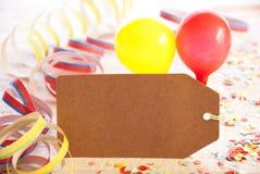 Etiqueta do partido, balão, flâmula, espaço da cópia para a propaganda Foto de Stock Royalty Free