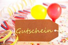 A etiqueta do partido, balão, flâmula, Gutschein significa o comprovante Imagem de Stock Royalty Free