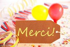 A etiqueta do partido, balão, flâmula, meios de Merci agradece-lhe Fotografia de Stock