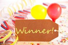 Etiqueta do partido, balão, flâmula, vencedor do texto Imagens de Stock
