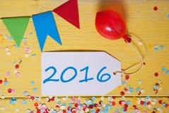 Etiqueta do partido com balão, texto 2016 Fotos de Stock