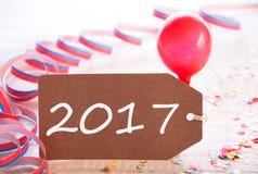 Etiqueta do partido com flâmula, balão, texto 2017 Foto de Stock