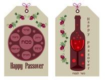 etiqueta do passover com símbolos do feriado Imagem de Stock