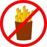 Etiqueta do perigo do fast food Batatas fritas da ilustração do vetor Imagens de Stock