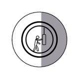 etiqueta do pictograma monocromático com o homem que bate o saco de perfuração no quadro circular Fotografia de Stock