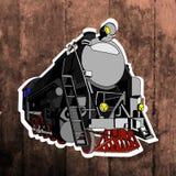 Etiqueta do pop art Mão que tira o trem retro Fotografia de Stock
