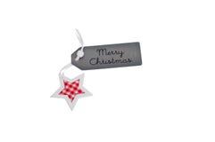 Etiqueta do presente do Feliz Natal com estrela Fotos de Stock Royalty Free