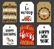 Etiqueta do presente do Natal com caligrafia Elementos desenhados mão do projeto ilustração royalty free