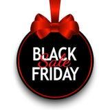 Etiqueta do preto da venda de Black Friday, bandeira redonda com curva vermelha, advertis Imagem de Stock