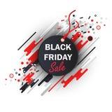 Etiqueta do preto da venda de Black Friday, ovals e listras, fundo abstrato Imagem de Stock