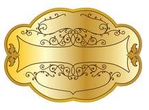 Etiqueta do produto do ouro Fotografia de Stock