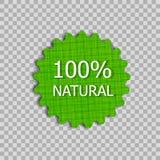 Etiqueta do produto natural do vetor, crachá de linho da textura no fundo transparente ilustração stock
