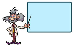 Etiqueta do professor da ciência dos desenhos animados do divertimento Fotografia de Stock