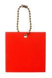 Etiqueta do quadrado vermelho fotografia de stock