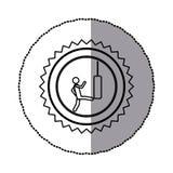 etiqueta do quadro circular monocromático com sawtooth do contorno do pictograma com o homem que retrocede um saco de perfuração Imagens de Stock