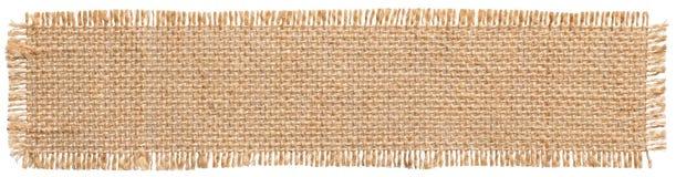 Etiqueta do remendo da tela de serapilheira, parte do pano de saco, juta de linho de pano de saco imagem de stock royalty free