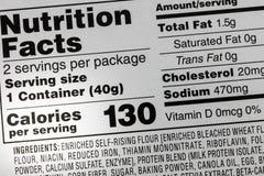 Etiqueta do sódio do alimento das calorias dos ingredientes imagem de stock royalty free