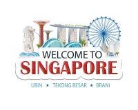 Etiqueta do texto do encabeçamento de Singapura ilustração do vetor