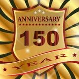 Etiqueta do th do aniversário 150 com fita Imagem de Stock