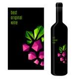 Etiqueta do vinho com grupo de uvas Fotos de Stock Royalty Free