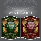 Etiqueta do vinho com uma fita do ouro Foto de Stock Royalty Free