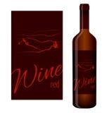 Etiqueta do vinho e garrafa do vinho Foto de Stock