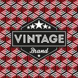 Etiqueta do vintage com fundo geométrico sem emenda do teste padrão Ideal para projetos de empacotamento Fotografia de Stock Royalty Free