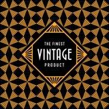 Etiqueta do vintage com fundo sem emenda do teste padrão de Art Deco do ouro Imagem de Stock Royalty Free