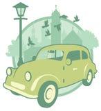 Etiqueta do vintage com um carro Fotografia de Stock Royalty Free