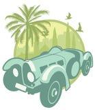 Etiqueta do vintage com um carro desportivo Fotografia de Stock