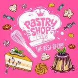 Etiqueta doce do projeto do logotipo do café da loja, emblema Vetor desenhado mão fotos de stock