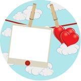 Etiqueta dos corações da nuvem Imagem de Stock