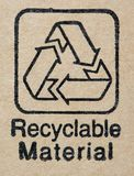 Etiqueta dos materiais Recyclable Fotografia de Stock Royalty Free