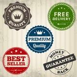 Etiqueta dos selos da qualidade do vintage no papel velho Fotos de Stock Royalty Free