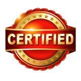Etiqueta dourada certificada da garantia com fita Fotografia de Stock Royalty Free