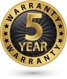 etiqueta dourada da garantia de 5 anos, ilustração do vetor Fotos de Stock