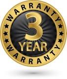 etiqueta dourada da garantia de 3 anos, ilustração do vetor Imagens de Stock