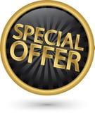 Etiqueta dourada da oferta especial, ilustração do vetor Fotografia de Stock