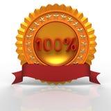 etiqueta dourada de 100%. Imagem de Stock Royalty Free